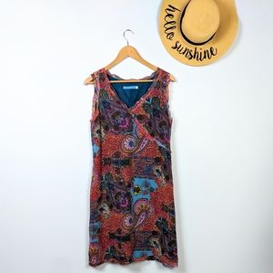 Johnny Was Silk Paisley Patchwork Print Dress L